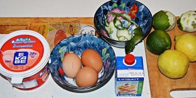 Ingrédients pour sorbet aux limettes